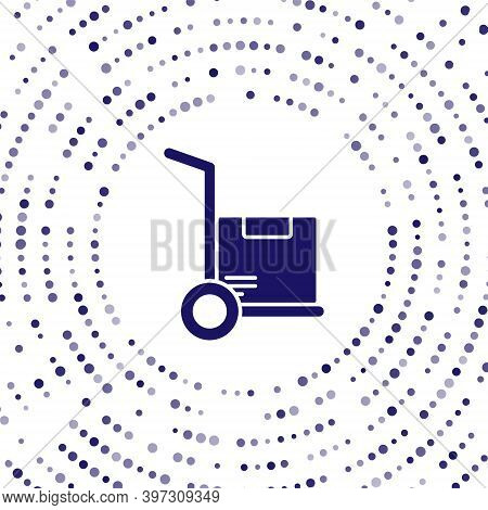 Blue Hand Truck And Boxes Icon Isolated On White Background. Dolly Symbol. Abstract Circle Random Do