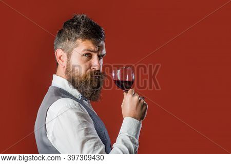 Man With Glass Of Wine. Red Wine. Bearded Man With Alcohol. Man In Suit Drinks Wine. Alcohol. Wine.