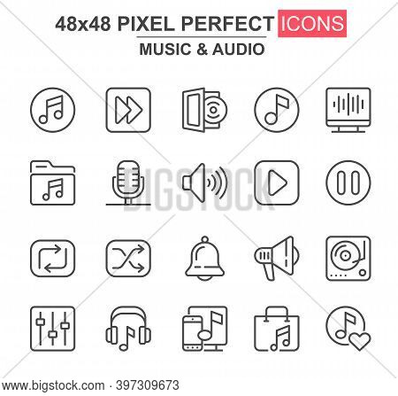 Music And Audio Thin Line Icon Set. Player, Mixer, Equalizer, Headphone, Loudspeaker, Record, Microp