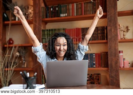 Yes, Im A Winner. Excited Emotional Ecstatic Lady Celebrating Success, Victory Or Great News Sitting