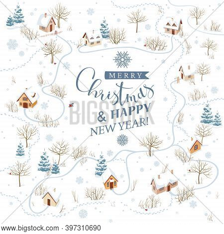 Snowy Rural Landscape In Winter. Vector Background For Christmas Greeting Card With Lettering Design