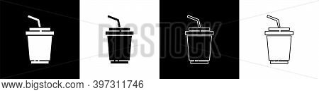 Set Paper Glass With Drinking Straw And Water Icon Isolated On Black And White Background. Soda Drin