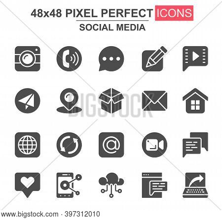 Social Media Glyph Icon Set. Message, Call, Chat, Mail, Smartphone, Pinpointer, Like, Camera, Cloud