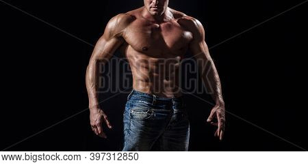Isolated On Black Background. Handsome Man With Muscular Topless Body. Torso Six Packs Attractive. S