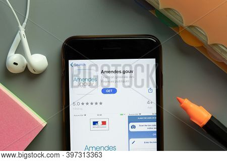 New York, Usa - 1 December 2020: Amendes.gouv Mobile App Icon On Phone Screen Top View, Illustrative