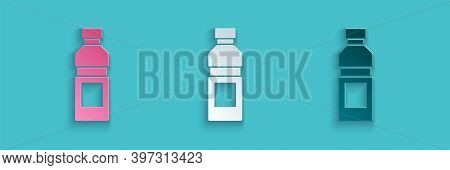 Paper Cut Bottle Of Water Icon Isolated On Blue Background. Soda Aqua Drink Sign. Paper Art Style. V