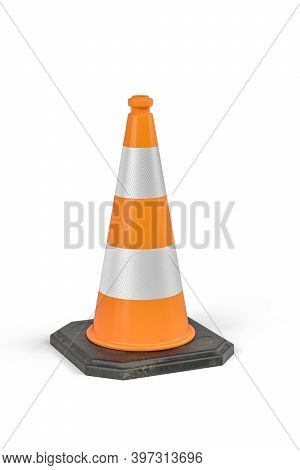An Orange Traffic Cone With Reflective Stripes On A White Background - 3d Render