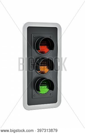 Traffic Light Isolated On White Background - 3d Render
