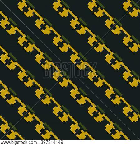 Seamless Surface Pattern. Tilted Figures Ornament. Slanted Shapes Wallpaper. Ethnic Motif. Diagonal