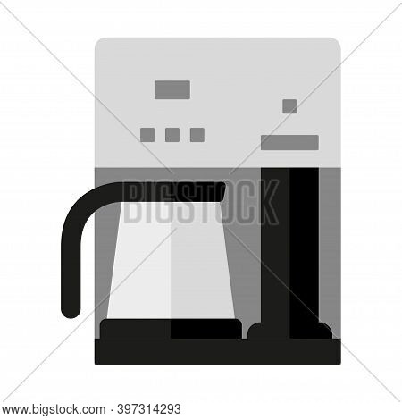 Coffee Maker Isolated On White Background. Household Appliances. Flat Style. Office Coffee Machine.