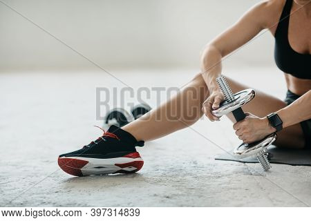 Gym At Living Room And Healthy Lifestyle Concept. Middle Aged Woman In Sportswear With Fitness Track