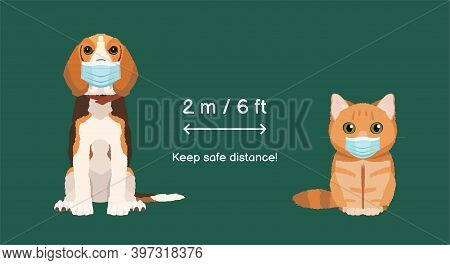 Illustration For Veterinary Clinic. Coronavirus Infection Spreading Prevention Information Sign With