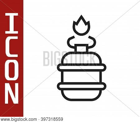 Black Line Camping Gas Stove Icon Isolated On White Background. Portable Gas Burner. Hiking, Camping