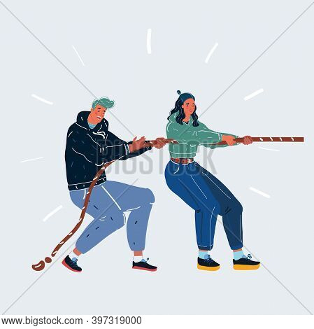 Vector Illustration Of Tug-of-war One Side. Man And Woman Play In One Team On White Backround.