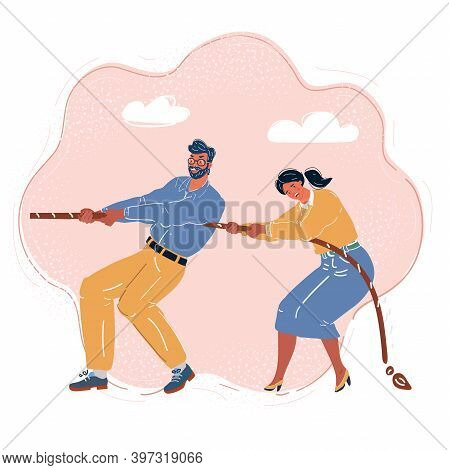 Vector Illustration Of Tug-of-war One Side. Man And Woman Play In One Team