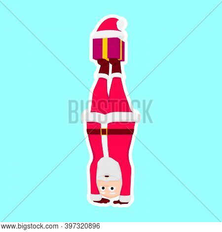 Cartoon Santa Claus Is Doing A Handstand.