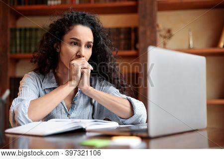 Freelance Stress. Concerned Female Freelancer Tired After Work On Laptop At Home, Having Problems Wi