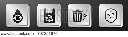 Set Recycle Clean Aqua, Plastic Bag With Recycle, Recycle Bin With Recycle And Recycle Symbol Inside