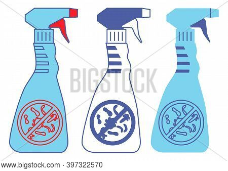 Bottles With Prohibition Bacterium Sign. Household Chemical Bottles. Disinfection Sprays In Blue Col