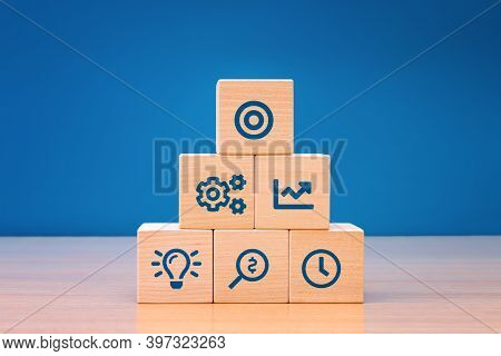 Business Concept Growth Success Process, Close Up Wood Block With Icon Business Strategy And Action