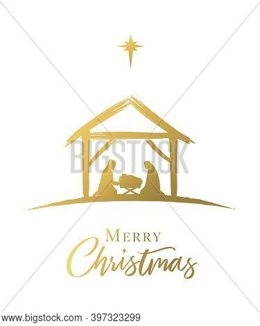 Merry Christmas, Nativity Scene Of Baby Jesus In The Manger Golden Color. The Birth Of Christ, Holy