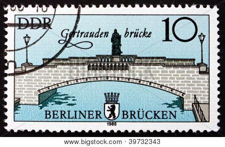a stamp printed in GDR shows Gertrauden Bridge, Bridges in East Berlin, circa 1985 poster