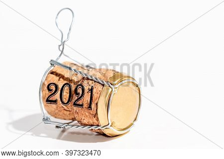 Champagne Cork With Year Date 2021 On White Background