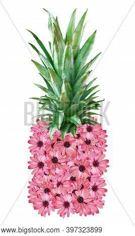 Floral Pink Gazania Flower Pineapple Sticker On White Background