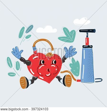 Vector Illustration Of Heart Under Pressure. Inflated Heart With Pumper.