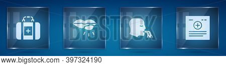 Set First Aid Kit, Herpes Lip, Vomiting Man And Clinical Record. Square Glass Panels. Vector