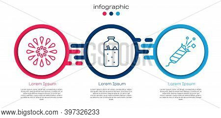 Set Line Firework, Mulled Wine And Firework Rocket. Business Infographic Template. Vector