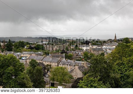Elgin, Scotland - August 8, 2019: Cityscape Of Elgin City With Typical Scottish Architecture, Grey H