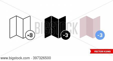 Timezone 3 Icon Of 3 Types Color, Black And White, Outline. Isolated Vector Sign Symbol.
