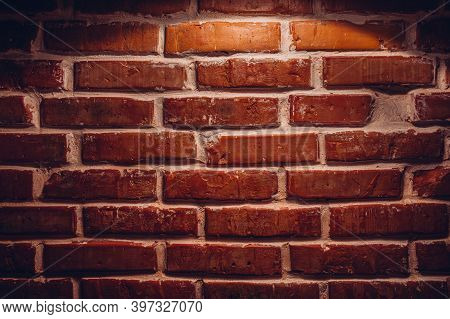 Real Old Sanded Brick Wall. Texture Background Image.