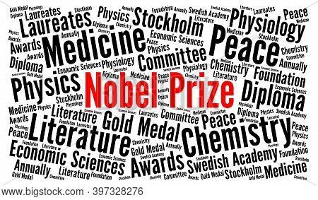 Nobel Prize Word Cloud Concept With A White Background