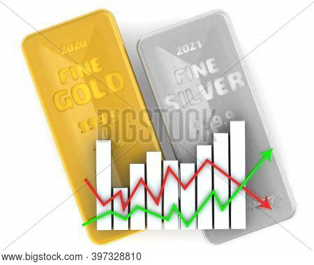Changes In The Value Of Precious Metals. Two Ingots Of 999.9 Fine Gold And Fine Silver With Graph On