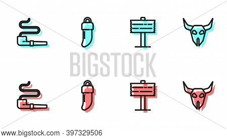 Set Line Road Traffic Signpost, Smoking Pipe, Tooth And Buffalo Skull Icon. Vector