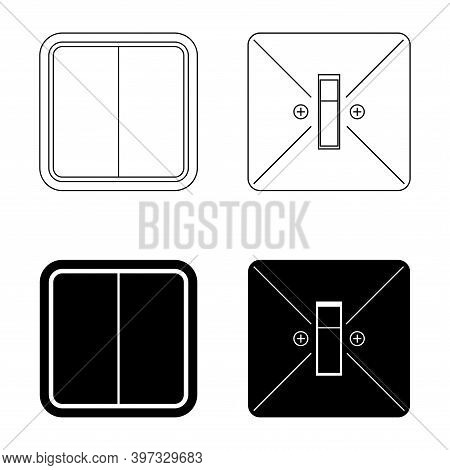 Electric Wall Mounted Switches. Power Off In Glyph Style, Sign For Mobile Concept And Web Design. To