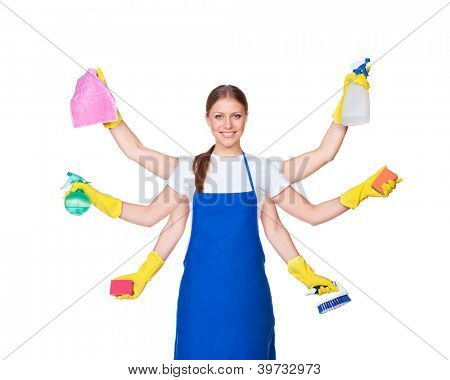 beautiful charwoman with six hands isolated on white background