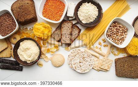 Banner Gluten Free Set. Gluten Free Products. Various Gluten Free Pasta, Bread, Snacks And Flour, To