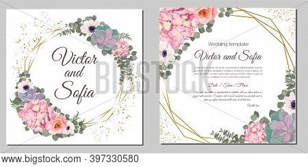 Beautiful Set For Wedding Invitations. Pink Hydrangea, Succulents, Anemones, Roses, Gold Sequins, Gl
