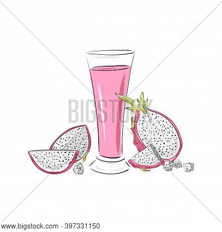 Glass With Juice, A Whole Dragon Fruit Pitaya And Slices. Smoothies On A White Background. Beverages