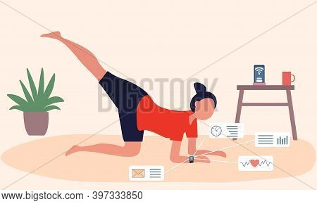 Woman Doing Sport Exercises At Home With Tracker. Sportswoman With Modern Device Is Controlling Spor