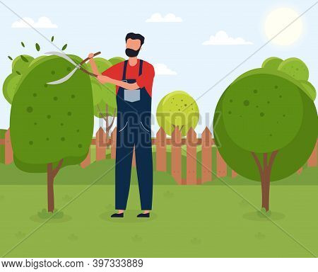 Gardener Working. Male Handyman Character Cutting Tree With Garden Shears. Backyard Landscaping, Pla
