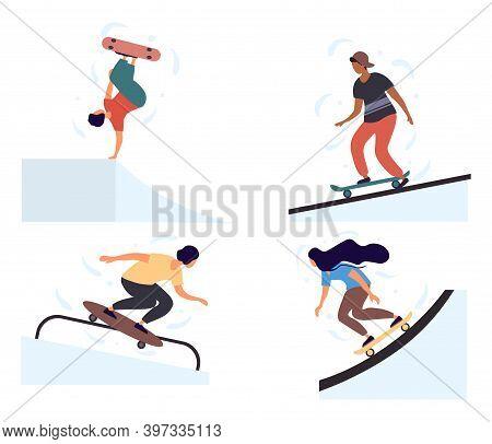 Set Of Teenage Boys And Girls Skateboarders Riding Skateboard. Young Men, Women Skateboarding. Male