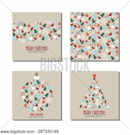 Christmas Cards Set. Christmas Seamless Pattern With Snowflakes, Snowman And Christmas Decoration. H
