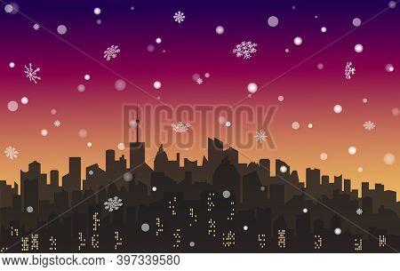 Vector Evening Snowy Landscape City. Metropolis Skyline Wallpaper With Snowflakes. Winter Cityscape