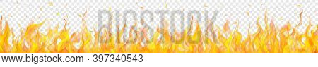 Banner Of Translucent Fire Flames And Sparks With Horizontal Repetition On Transparent Background. F