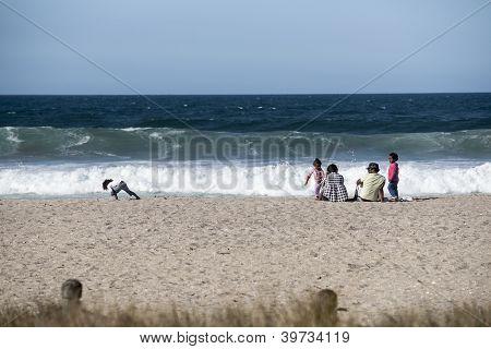 Family at beach/