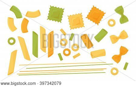 Pasta Vector Icon Set. Colored Different Types Italian Pasta. Spaghetti, Ravioli, Penne, Farfalle, N